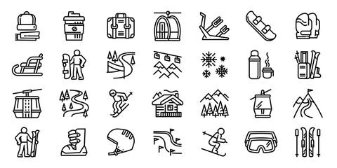 Fototapeta Ski resort icons set. Outline set of ski resort vector icons for web design isolated on white background obraz