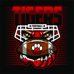 tigers football team design with mascot, facemask and ball for school, college or league