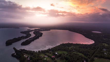 Aerial view of sunset over Dora Creek and Eraring on Lake Macquarie on the NSW Central Coast