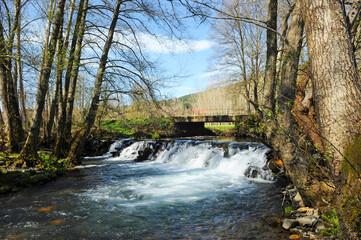 Cascada y puente del río Cereixo en el bosque cerca de Laza, un pueblo de la provincia de Ourense, Galicia, España