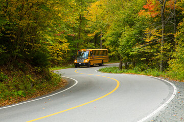 Rickreall, Oregon - 10/7/2015: A school bus navigates a winding forest road on state Highway 22