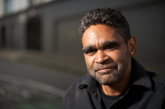 Indigenous Australian Man with Stubble