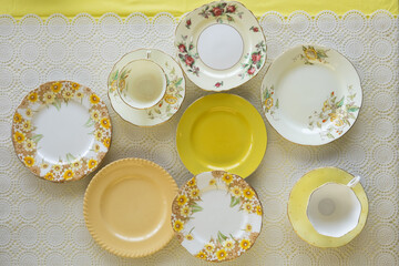 Vintage plates and teacup from overhead