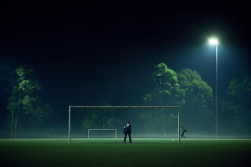 Distant people playing sport in fog at night