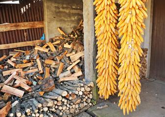 Mazorcas de maíz para alimentar al ganado y leña de pino almacenada para el invierno en una casa en Laza, pueblo de la provincia de Ourense, Galicia, España