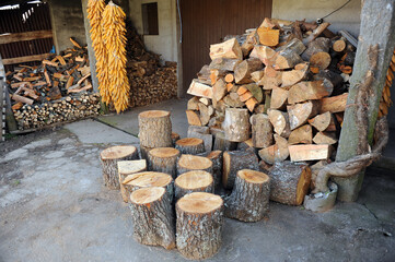 Corn cobs to feed livestock and pine firewood stored for the winter.