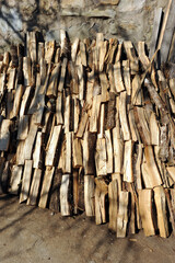 Firewood cut and stored for the winter in a house in Laza, village of the province of Ourense, Galicia, Spain