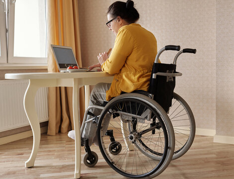 Disabled Woman Surfing Internet