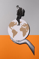 Traveler around the world - collage