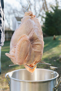 Turkey Ready to be Fried in Backyard for Thanksgiving