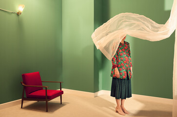 woman in a green room