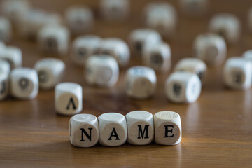 Name written with wooden cubes