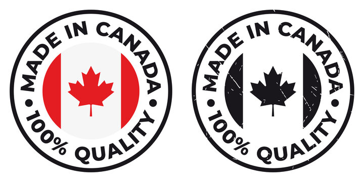 Vector circle symbol. Text Made in Canada with flag. Stamp. Isolated on white background.