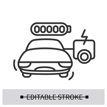 Electric car icon. Vehicle with range extending auxiliary power unit line pictogram. Concept of safe long distance drive and green energy transport technologies . Editable stroke vector illustration