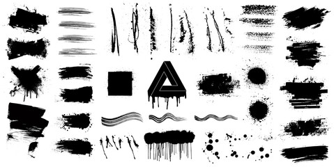 Fotobehang - Very nice collection of black paint. Great elaboration: spray graffiti and stencil template ink brush strokes. Grunge design set for you design. Paint splatter blotches. Vector texture, isolated set