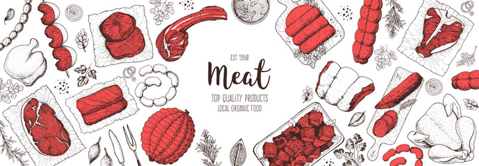 Meat products top view frame. Vector illustration. Engraved design. Hand drawn illustration. Pieces of meat design template. Great for package design. Chicken, beef, pork, sausage, lamb, ham sketch.