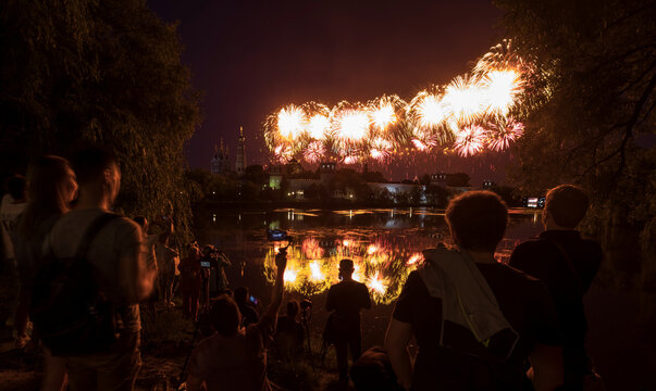 Fireworks explode behind the Novodevichy monastery marking the 75th anniversary of the victory over Nazi Germany in World War Two, in Moscow