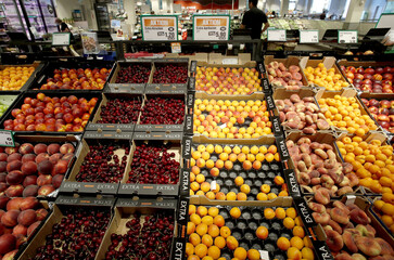 Fruits are displayed at the fresh market department at a supermarket of Swiss retail group Migros in Zurich
