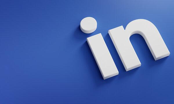 LinkedIn Logo Minimal Simple Design Template. Copy Space 3D