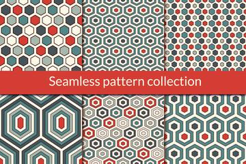 Foto op Plexiglas Kunstmatig Honeycomb, hexagon seamless pattern collection. Geo design background set. Classic geometric mosaic tiles print kit