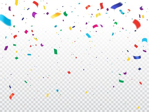 Holiday background with confetti. Vector flying and falling colorful paper confetti on transparent background. Holiday celebration, party fun, grand opening ceremony, festival or carnival decoration