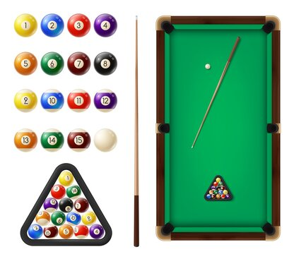 Billiard balls and table. Cue sports, snooker club equipment. Billiards cues, colored balls with digits in row and in triangular rack, covered green cloth pool table top view, 3d realistic vector
