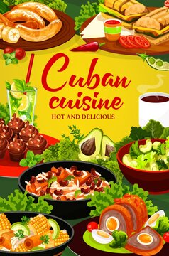 Cuban cuisine vector poster. Restaurant menu cover. Meals with meat, vegetables, fruit salads and bakery dessert. Cuban sandwich, fried bananas, coffee cupcakes, mojito, meatlof with egg, ajiaco stew