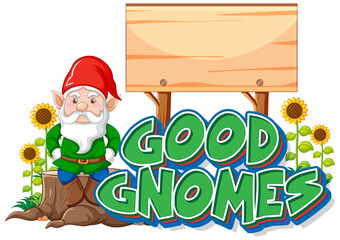Good gnomes logo with blank banner on white background