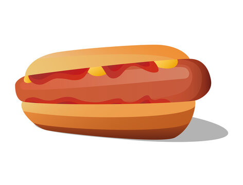 Hot dogs with sausage contents coated in red and yellow sauce