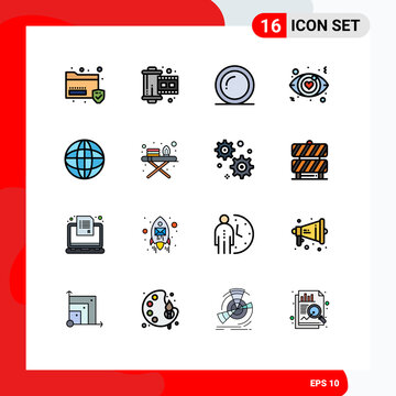 Flat Color Filled Line Pack of 16 Universal Symbols of education, world, plate, love sign, dating