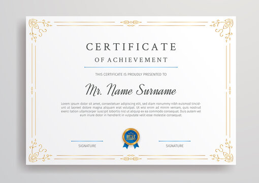 Golden diploma certificate for award, business, and education document printing
