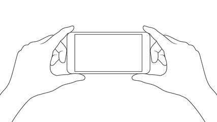 Holding smartphone with both hands
