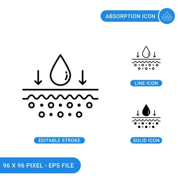 Absorption card icons set vector illustration with solid icon line style. Drop water emulsion concept. Editable stroke icon on isolated background for web design, infographic and UI mobile app.