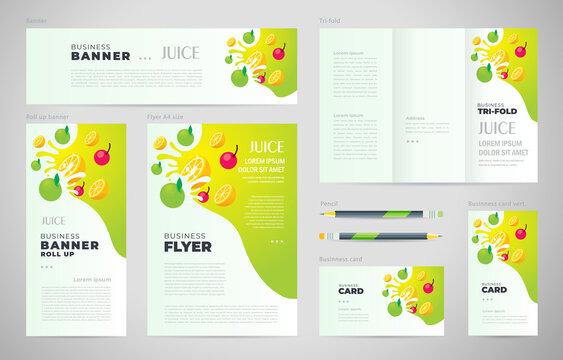 Juice fruit drops liquid  green apple element Set flyer cover, tri-fold, banner, roll up banner, business card.