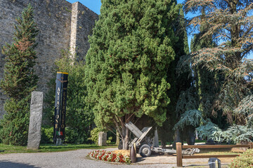 Historic cannons in pubblic park Rocca di Bergamo in Upper Town Citta Alta. Bergamo. Italy