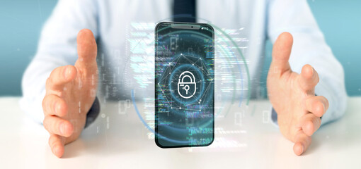 Businessman holding Security data and smartphone security - 3d rendering