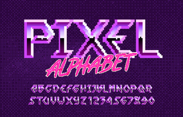 Pixel alphabet font. Hard rock metallic effect letters and numbers. Pixel background. 80s arcade video game typescript.