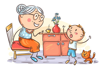 Wall Mural - Child emotionally speaking with his granny, grandmother and kid, cartoon illustration