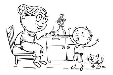 Wall Mural - Child emotionally speaking with his granny, grandmother and kid, outline vector illustration