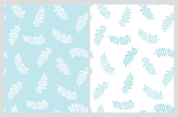 Simple Abstract Floral Vector Pattern. Pastel Blue Hand Drawn Twigs Isolated on a White  Background. Funny Infantile Style White Falling Leaves Vector Print.