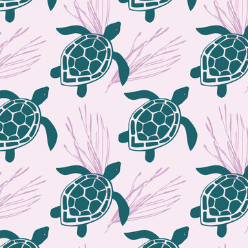 Seamless pattern with sea turtle and algae.