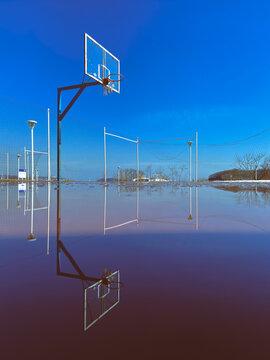 basketball hoop on a sunny day