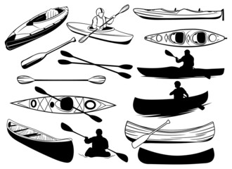 Set of canoe silhouettes. Collection of people floating in a kayak. Black and white illustration of a kayak. Rowing boat vector drawing for logo