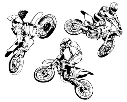 Set of racer motorbike. Collection of silhouettes of riders on a motorcycle in different poses. Extreme motorcycling. Motocross racing. Vector illustration of jumping riders performing stunts.