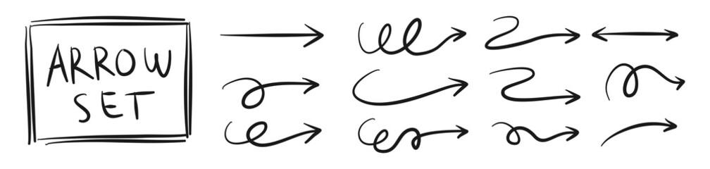 arrow vector hand draw doodle vector illustration. arrows direction mark sign. Handmade sketch symbols set on a white background