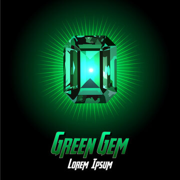 Green Gem color on Color background with flair color. Vector illustration
