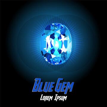 Blue Gem color on Color background with flair color. Vector illustration