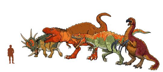 Set of 4 dinosaurs. Comparison between dinosaurs and human.  Tyrannosaurus rex, Styracosaurus,  Allosaurus and Therizinosaurus.