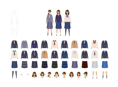 女子高校生、中学生の様々な制服イラストセット 着せ替えできる色々なブレザー、セーラー服のベクターイラスト