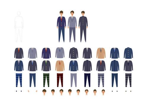 男子高校生、中学生の様々な制服イラストセット 着せ替えできる色々なブレザー、学ランのベクターイラスト